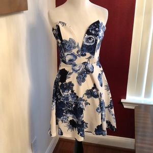 White and Blue Floral Peplum Dress